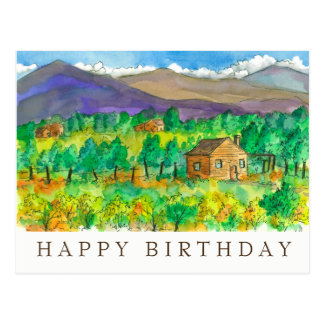 Autumn Desert Watercolor Painting Happy Birthday Postcard
