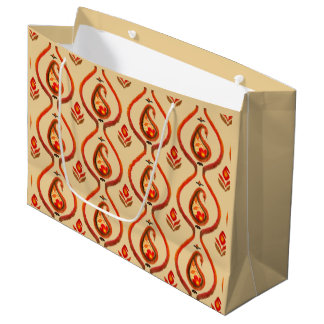 Autumn Earthy Ikat Hand painted Paisley Large Gift Bag