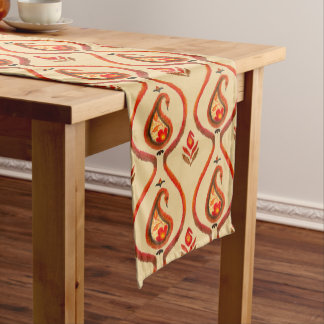 Autumn Earthy Ikat Hand painted Paisley Long Table Runner