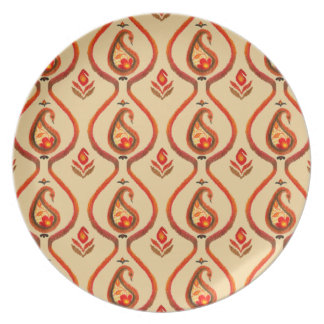 Autumn Earthy Ikat Hand painted Paisley Plate