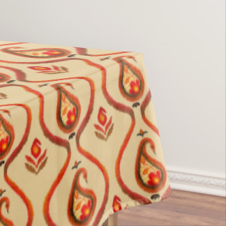 Autumn Earthy Ikat Hand painted Paisley Tablecloth