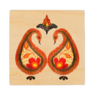 Autumn Earthy Ikat Hand painted Paisley Wood Coaster