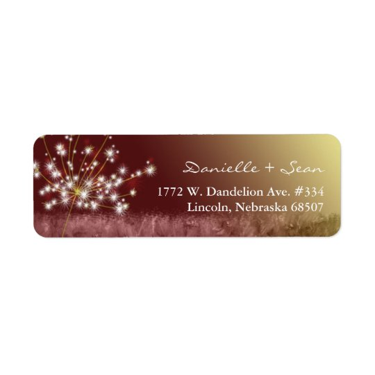 Autumn Elegance Dandelion Wedding Return Address Label