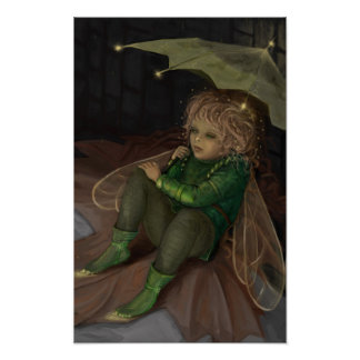 Autumn elf with an umbrella illustration poster