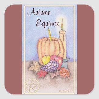 Autumn Equinox Mabon Blessings Pentacle Square Sticker