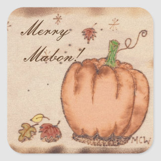 Autumn Equinox Prim Pumpkin  Mabon Harvest Home Square Sticker