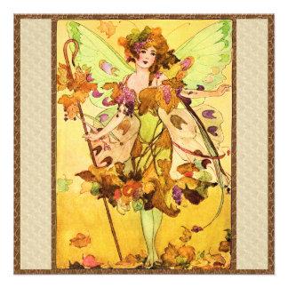 Autumn Fairy Butterfly Girl Invitations