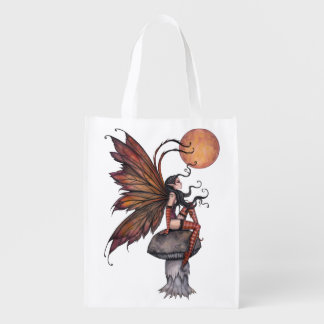 Autumn Fairy Fantasy Art Illustration Reusable Grocery Bag