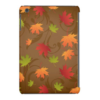 Autumn, Fall Color Leaves on Brown Background iPad Mini Cover