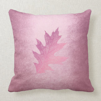 Autumn Fall Felice Leave Pink Delicate Throw Pillow