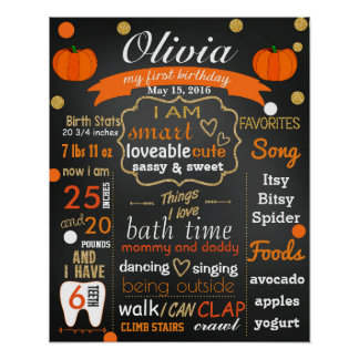 Autumn Fall First birthday chalkboard sign chalk Poster