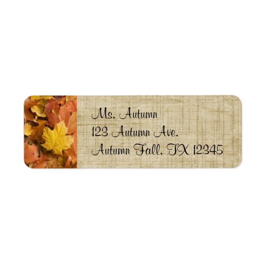 Autumn Fall Golden Leaves Return Address Labels