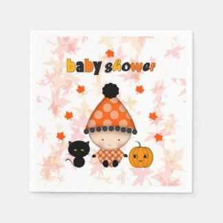 Autumn Fall Halloween Baby Shower Paper Napkins