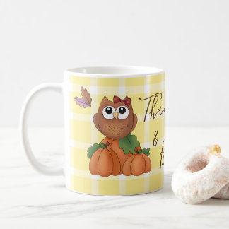 Autumn Fall Harvest Owl Pumpkin Yellow Plaid Coffee Mug