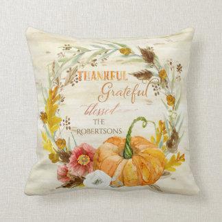 Autumn Fall Harvest Seasonal Decor Pumpkin Wreath Cushion