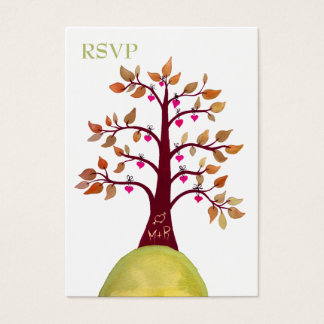 Autumn Fall Heart Tree Carving Wedding RSVP Cards