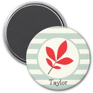 Autumn, Fall, Leaf; Leaves on Sage Green Stripes Fridge Magnets