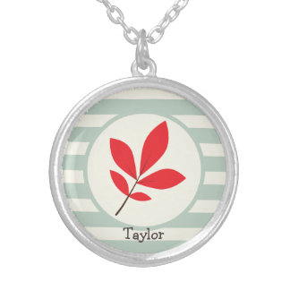 Autumn, Fall, Leaf; Leaves on Sage Green Stripes Necklaces