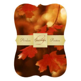 "Autumn Fall Leaf Monogram Bracket 5"" X 7"" Invitation Card"