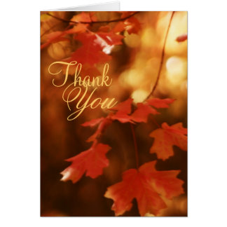 Autumn Fall Leaf Thank You Greeting Card