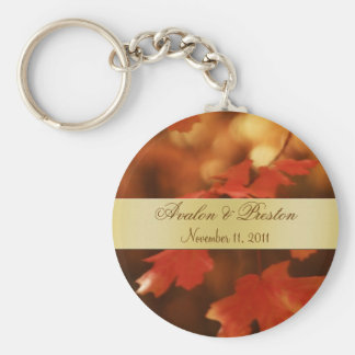 Autumn Fall Leaf Wedding Favor Gold Keychain