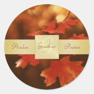 Autumn Fall Leafs Monogram Wedding Sticker