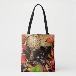Autumn Fall leaves, chestnuts and mushrooms Tote Bag