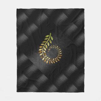 Autumn Fall  Leaves Green Gold Black Geometrical Fleece Blanket