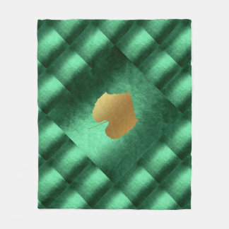 Autumn Fall  Leaves Green Gold Geometrical Fleece Blanket