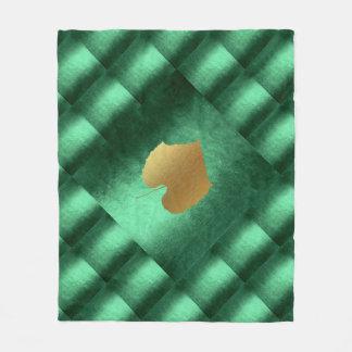 Autumn Fall  Leaves Green Gold Geometrical Fleece Blanket