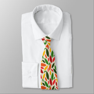 Autumn fall leaves green red yellow orange tie