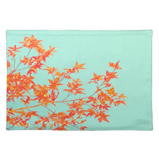 Autumn Fall Leaves in Orange on Mint Green Placemat