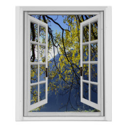 Autumn Fall Leaves Mountain View Faux Window Poster