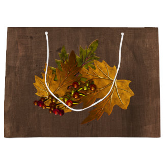 Autumn Fall Leaves Rustic Wedding Large Gift Bag