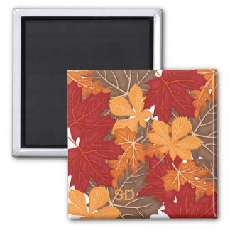 Autumn Fall Leaves Square Magnet