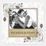 Autumn Fall Leaves Swirls Wedding Photo Sticker