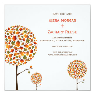 Autumn Fall Leaves Trees Wedding Save The Date Card