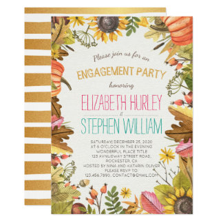 Autumn Fall Maple Leaves Pumpkin Engagement Party Card