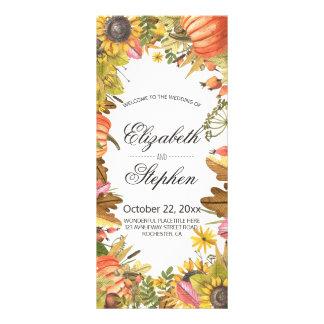 Autumn Fall Maple Leaves Pumpkin Wedding Program Rack Card