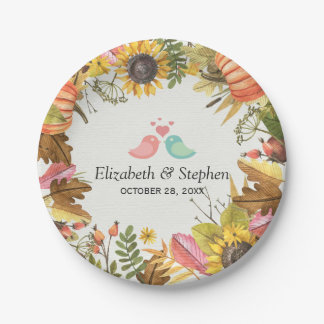 Autumn Fall Maple Leaves Pumpkin Wedding Shower Paper Plate