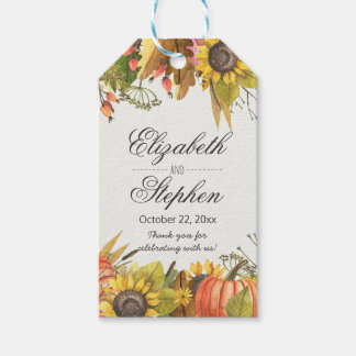 Autumn Fall Maple Leaves Pumpkin Wedding Thank You Gift Tags