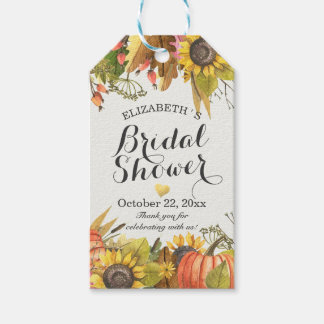 Autumn Fall Maple Leaves Pumpkins Bridal Shower Gift Tags