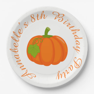 Autumn Fall Pumpkin Birthday 9 Inch Paper Plate