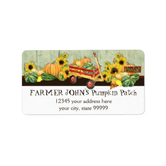 Autumn Fall Pumpkin Patch Harvest Farm Businesses Address Label