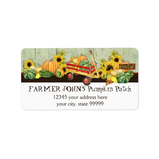Autumn Fall Pumpkin Patch Harvest Farm Businesses Label