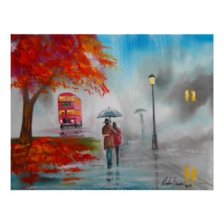 Autumn fall rainy day red bus couple poster