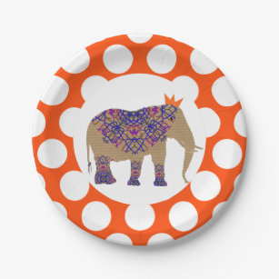 Autumn Fall Rustic Colours Cute Elephant Paper Plate  sc 1 st  Zazzle : elephant paper plates - pezcame.com