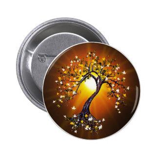Autumn Fall Tree at Sunset Button