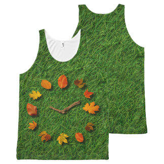 Autumn Fall Tree Leaves Clock With Branches All-Over Print Singlet