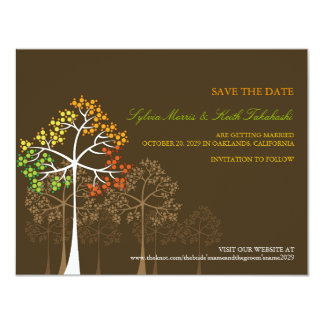 Autumn Fall Trees Woodland Wedding Save The Date Card